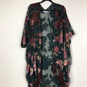 World Market Green Floral Kimono